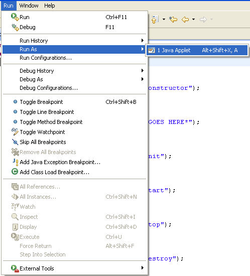 Eclipse Run Java Applet